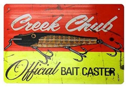 CREEK CHUB FISHING LURE TIN SIGN LARGEMOUTH BASS ROD REEL LAKE ADVERTISING 1.00