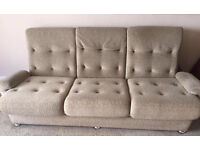 3 seater cream sofa and armchair