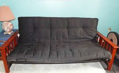 Futon Frame & Mattress Set ~ Solid BLACK Metal & Wood Opens to DOUBLE BED 80