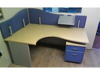 FILING CABINET & LARGE BEECH ERGONOMIC & STURDY DESKS OFFICE / STUDENT DELIVERY AVAIL. RRP £310 C9