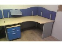 FILING CABINET & LARGE BEECH ERGONOMIC & STURDY DESKS OFFICE / STUDENT DELIVERY AVAIL. RRP £310 C27