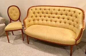 ANTIQUE French Provincial satinwood settee & chair(Late1800's)