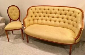 ANTIQUE French Provincial satinwood settee/chair(Late 1800's)