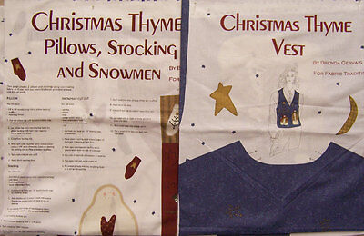 2 Christmas Fabric Panels To Sew Ladies Vest Ornaments Stockings Snowman CR 119 ()