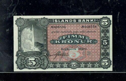 ICELAND | 1920 | 5 Kronur | P#15r | GEM UNC
