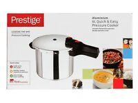 Brand New in Box Prestige Quick and Easy Aluminium 6 Litre Pressure Cooker - Silver
