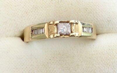 Stunning  Vintage 14Ct Gold Square Princess Cut Diamond Ring 14ct Princess Cut Diamond
