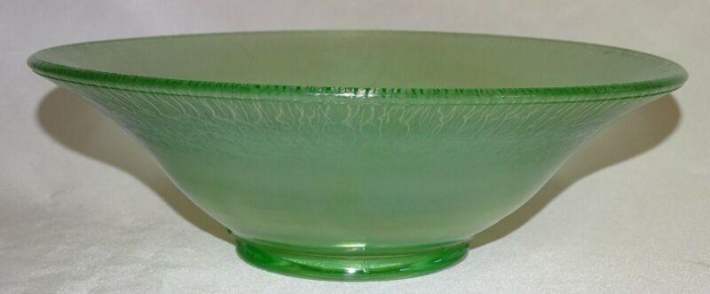 "Northwood USA Green Iridescent Stretch Glass 10"" Flared Bowl -Glows"