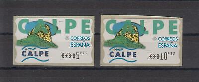 ATMs, España 1999. Calpe. 5 DIG. Estrechos, valores 5 y 10 ptas....