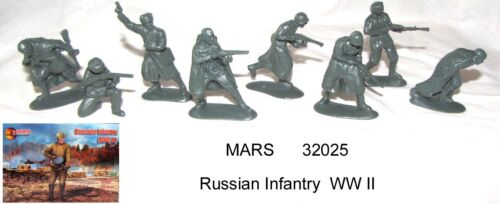 Mars 32025 1/32 Russian Infantry  WW II toy soldiers 15 figs in 8 poses