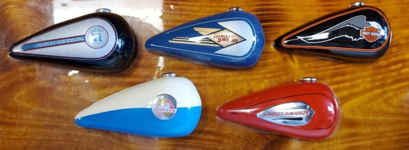 Mini Harley Davidson Motorcycle Gas Tanks Ornaments Set Of 5
