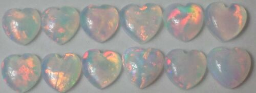 12 Vintage Lab Created White Fiery Opals 5x5mm Heart Cabochon Cabs Gemstone Wow3