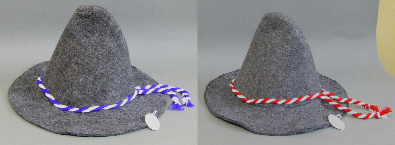 FILZHUT Bayern Seppl Hut Mütze Kordel blau/weiss oder rot/weiss NEU