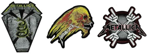 Metallica Flaming Skull + Metal Horn Coffin + Metal Horns Patch Lot of 3 Patches