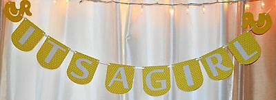 its a girl baby shower yellow  & white rubber duck themed hanging banner sign - Yellow Ducks Baby Shower Theme