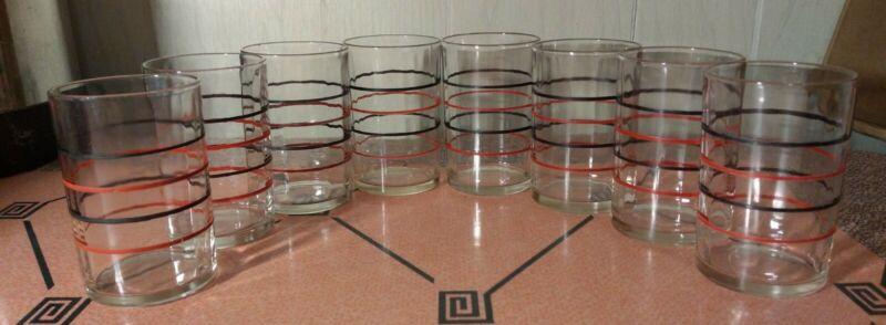 "Set of 8 Vintage Deco Swanky Swig Black & Red Striped 3.5"" Juice Glass Tumbler"