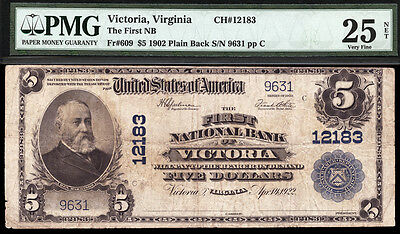 5 1902 Pb The First National Bank Of Victoria  Virginia Pmg 25N Rare Only 7 Lrg