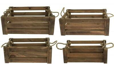 e2e Natural Brown Shallow Farm Shop Style Wooden Slatted Apple Crate Box