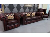 Immaculate Chesterfield 3 Seater Sofa, Club & Queen Anne Wing Back Chair Oxblood Leather Uk Delivery
