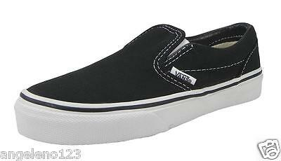 VANS Classic Slip On Black White Shoes Kids Youths Boys Sneakers VN - Kids Vans Shoes