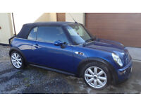 Mini Cooper S Convertible 2dr with chilli pack, 17 inch alloys and blue hood. Only 51,517 miles.