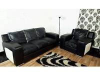 Real leather black&white 3 seater+ chair**Free delivery**