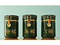 Set Of Three Green Coffee / Sugar / Tea Canisters & Unusual Kitchen Roll Holder.