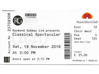 Classical Spectacular. Royal Albert Hall. Sat 19th November @ 3.00pm. ONE FRONT CHOIR TICKETET Only