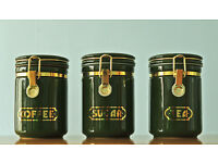 Set Of Three Green Coffee / Sugar / Tea Canisters