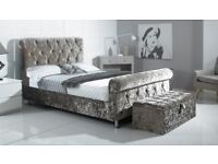 IN VARIOUS COLOURS BRAND NEW CRUSHED VELVET SLEIGH BED + DELIVERY