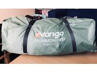 Vango Drummond 400 Excel 4 Man Camping/Festival Tent & foot print-3 months old-used once-tags intact