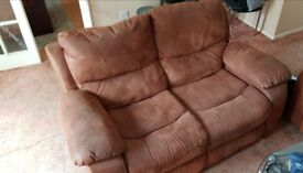 Two brushed leather look recliner sofas for sale, in excellent condition - make us an offer