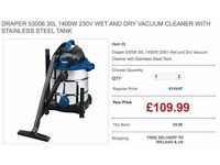 DRAPER 53006 30L 1400W 230V WET AND DRY VACUUM CLEANER WITH STAINLESS STEEL TANK