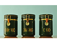 Set Of Three Green Coffee / Sugar / Tea Canisters