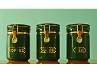 Set Of Three Dark Green Coffee / Sugar / Tea Ceramic Canisters With Rubber Seals