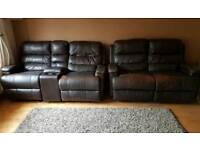 Brown recliner leather sofas x 2