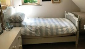 Beautiful French Chateau Style Single Bed in Dove Grey, Rattan Headboard, perfect condition