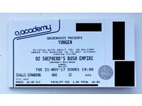 6 Standing Yungen Tickets - O2 Shepherd's Bush Empire - 21st Nov - Sold Out