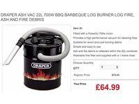 DRAPER ASH VAC 22L 700W BBQ BARBEQUE LOG BURNER LOG FIRE, ASH AND FIRE DEBRIS