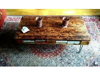 Charred wood 'Shou-Sugi-Ban' reclaimed pallet coffee table
