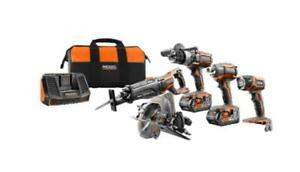 Brand New in Sealed Box RIDGID 18V Lithium-Ion Cordless Combo Kit (5-Tool