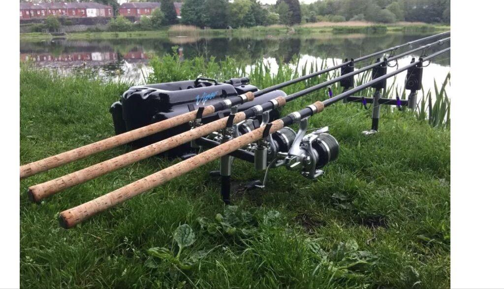 Will split top end 3 rod carp set up in burnley for Fishing rod setup