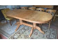 Large Solid Waxed Pine Extending Farmhouse Dining Table & Four Beech Chairs *FREE DELIVERY*