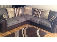 Corner sofa, leather and fabric £400