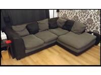Charcoal and grey corner sofa