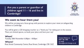 Are you a parent or guardian? Take part in our focus group and get a £20 shopping voucher!