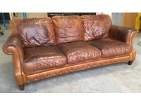 Natural tan Aniline leather 3 seat sofa WE DELIVER UK WIDE
