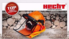 NEW Chainsaw Safety Helmet Non Misting no Glare Visor Ear Protection with Neck Cape HECHT BRAND