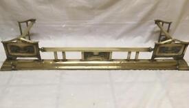 Antique brass fire fender Art Deco style