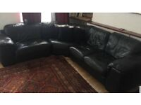 Leather Black 3-piece sectional sofa